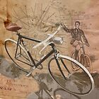 VINTAGE RETRO CYCLIST digital print by SFDesignstudio