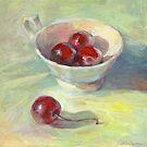 Sunny still life with cherries in a cup painting Svetlana Novikova by Svetlana  Novikova