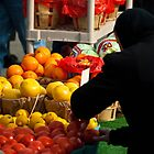 Amish Lady Shopping for Fruit  by KellyHeaton