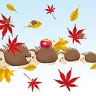 Hedgehog family in autumn by schtroumpf2510