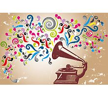 Vintage record player with abstract colorful swirls Photographic Print