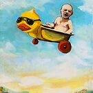 rubber duck & baby fantasy oil painting by LindaAppleArt