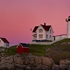 Nubble Lighthouse with Pink Sky, Sunset by KellyHeaton