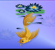 Gold Koi and Deep Blue Lilies by Lotacats