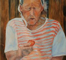 My aunt eating tomato by Magdalena Walulik