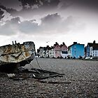 Colorful houses, abandoned boat by CjBarberPhoto