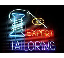 Expert Tailor Neon Sign Photographic Print