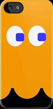Pac-Man Ghost iphone orange by Margaret Bryant