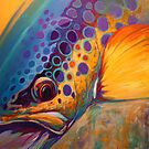 """River Orchid"" Large Contemporary Trout Painting  by Mike Savlen"
