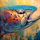 """Fire From Water"" Rainbow Trout Contemporary Art by Mike Savlen"