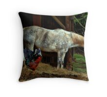 Friends ~ Chicken, Goat, Horse ~ Throw Pillow