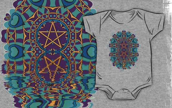 Aqua Purple Pentagram Love Reflection by webgrrl