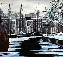 Winter in stad by GWinkel