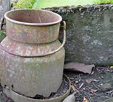 old milk pail. by Barbara Caffell