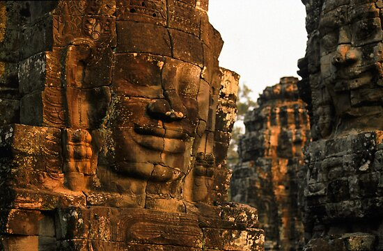 The Bayon temple, Angor complex, Cambodia. by Phil Bower