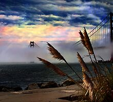 Golden Gate bridge on a foggy day by photo-Art