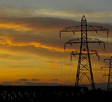 Pylons in the evening by theRandomness