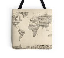 Map of the World Map from Old Sheet Music Tote Bag