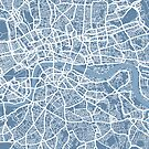 London Map Art Steel Blue by ArtPrints