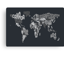 Typograhpy Text Map of the World Canvas Print