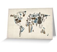 Musical Instruments Map of the World Greeting Card