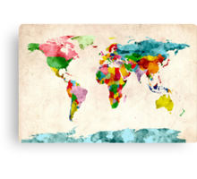 World Map Watercolors Canvas Print