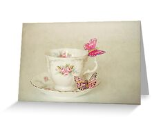 White Vintage Teacup and Butterflies Greeting Card