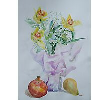 3+2 - Flowers with apple and pear Photographic Print