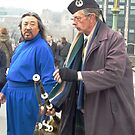 Culture Shock. An encounter on Westminster Bridge, London, England. by David Dutton