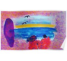 Surf  and Sand on a nude beach, watercolor Poster