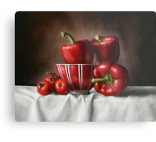 Classic Still Life with tomatoes and peppers Metal Print