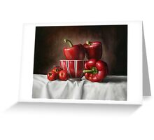 Classic Still Life with tomatoes and peppers Greeting Card