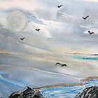 Gulls - Encaustic Painting by Loreen Finn