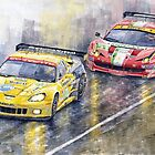 Le Mans 2011 GTE Pro Chevrolette Corvette C6R vs Ferrari 458 Italia by Yuriy Shevchuk