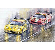 Le Mans 2011 GTE Pro Chevrolette Corvette C6R vs Ferrari 458 Italia Photographic Print