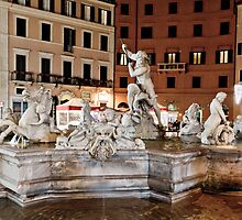 Fountain with Ancient Roman Statues by derejeb
