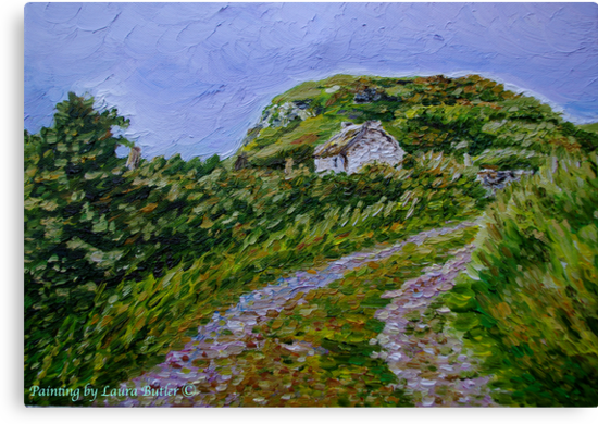 """Ruined Cottage near Kinny Lough, Magheradrumman, Fanad, Donegal."" by Laura Butler"