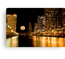 Chicago River Moon Canvas Print