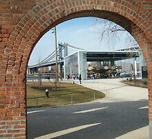 View of Carousel in Brooklyn Bridge Park, Manhattan Bridge, Brooklyn, New York by lenspiro