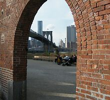 View of Brooklyn Bridge from Brooklyn Bridge Park, New York by lenspiro