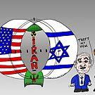 Venn Diagram Cartoon of The US Israel and Iran by bubbleicious