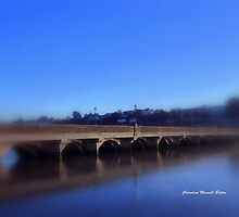 Bideford Bridge in Blue by Charmiene Maxwell-batten