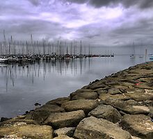 Reflections on a Breakwater. by Larry Lingard/Davis