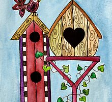 Bird House ~ Sweet Spring Memories. by Lisa Frances Judd ~ QuirkyHappyArt
