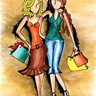 Girls Shopping Day ~ Nothing like a little &#x27;girlfriend time&#x27; by Lisa Frances Judd ~ Original Australian Art