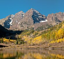 The Maroon Bells In Fall Dress by Gregory J Summers