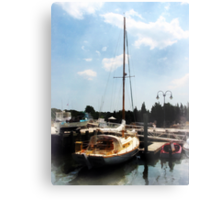 Docked Cabin Cruiser Metal Print