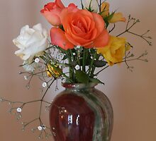 Roses in Stone Vase by judith26