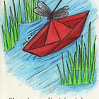 Dragonfly on a Paper Boat by melonaide