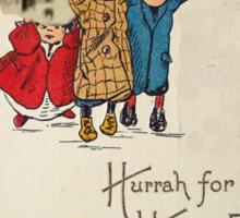Kids With Decorations (Vintage Halloween Card) Sticker